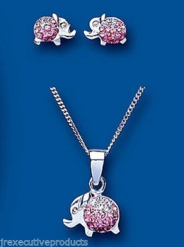 Pink Elephant Pendant and Earrings Set Solid Silver Children's Jewellery